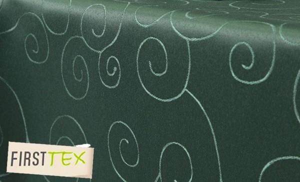 First-Tex Ornament Damast Tischdecke eckig 130x160 cm dunkelgrün Pflegeleicht, Hochwertig, Bügelarm,