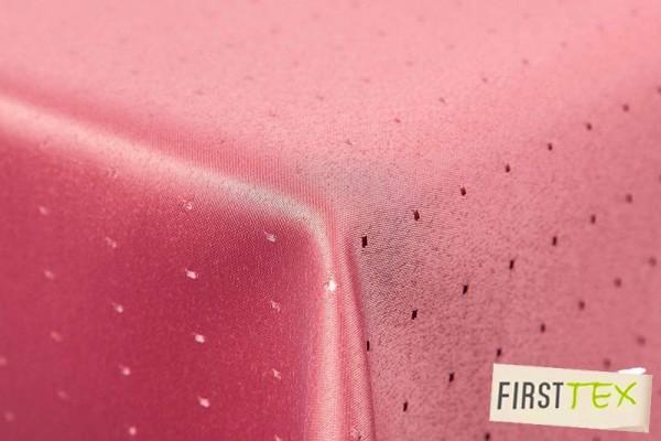 Punkte Damast Tischdecke von First-Tex 130x260 cm, eckig, rosa, Pflegeleicht, Hochwertig, Bügelarm,