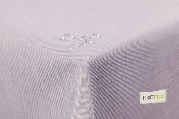 Tischdecke Leinenoptik Lotuseffekt abwaschbar mit gerader Saumkante 135x180 oval in silber/hellgrau