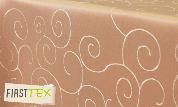 First-Tex Ornament Damast Tischdecke eckig 130x220 orange Pflegeleicht, Hochwertig, Bügelarm, Schnel