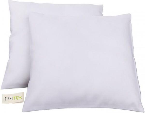 2x Streifen Damast Kissenhülle, Kissenbezug 40x40 in weiß von First-Tex Lotuseffekt pflegeleicht