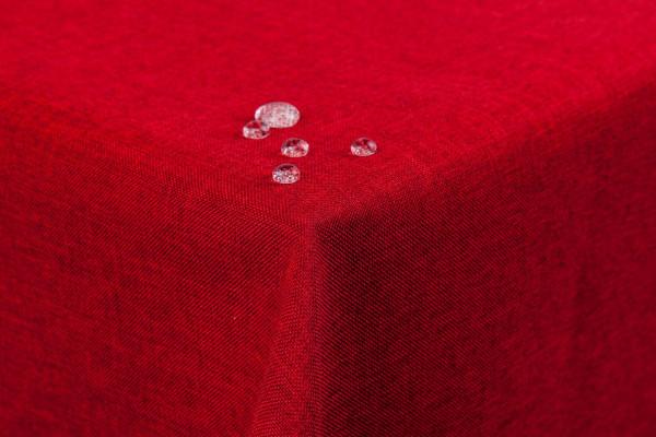Tischdecke Leinenoptik Lotuseffekt abwaschbar mit gerader Saumkante110x160 eckig in rot