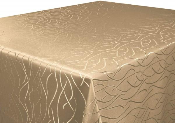 Tischdecke hellbraun 160x400 cm eckig in glanzvoller Streifenoptik, Pflegeleicht, Hochwertig, Bügel