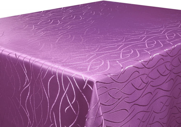 Tischdecke lila 110x220 cm eckig in glanzvoller Streifenoptik, Pflegeleicht, Hochwertig, Bügelarm, S