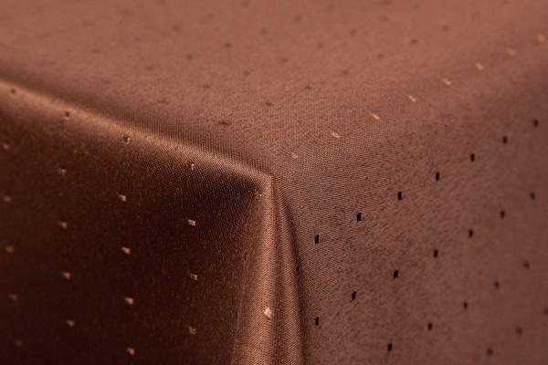 Punkte Damast Tischdecke 180 cm, rund, von First-Tex, Dunkelbraun, Pflegeleicht, Hochwertig, Bügelar