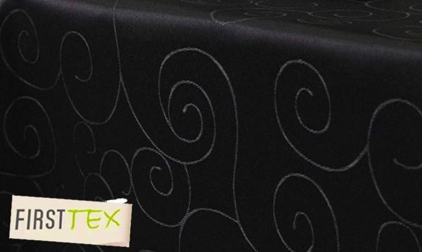 First-Tex Ornament Damast Tischdecke eckig 130x160 cm, schwarz, Pflegeleicht, Hochwertig, Bügelarm,