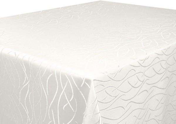 Tischdecke creme Oval 160x260 cm in glanzvoller Streifenoptik Pflegeleicht Hochwertig Bügelarm Schne