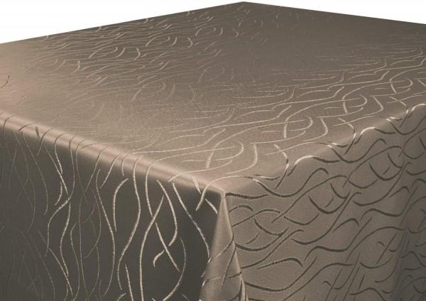 Tischdecke dunkelbraun rund 135 cm in glanzvoller Streifenoptik, Pflegeleicht, Hochwertig, Bügelarm,