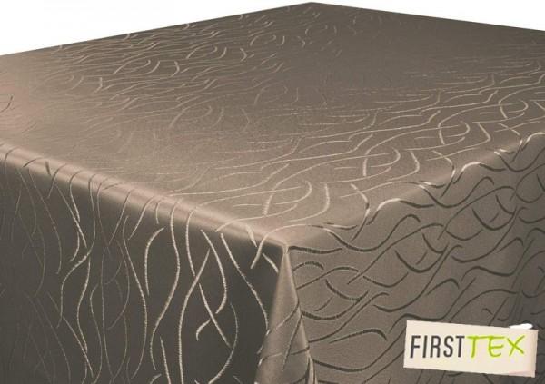 Tischdecke dunkelbraun 110x110 cm in glanzvoller Streifenoptik, Pflegeleicht, Hochwertig, Bügelarm,