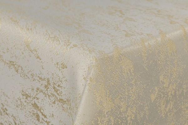 First-Tex Tischdecke Damast Jacquard Brilliant Meliert 90x90 in creme/champagner mit gerader Saumkan