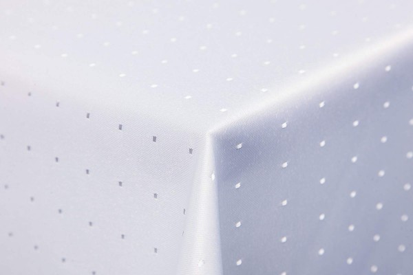 Punkte Damast Tischdecke eckig, 130x160 cm, von First-Tex, weiß, Pflegeleicht, Hochwertig, Bügelarm,