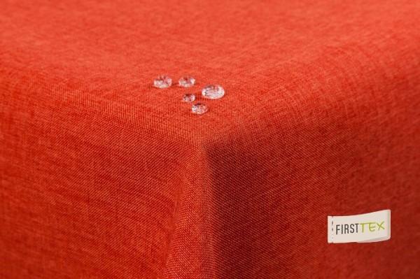 Tischdecke Leinenoptik Lotuseffekt abwaschbar mit gerader Saumkante 220 rund in terracotta/orange