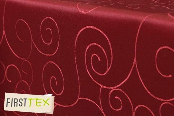 First-Tex Ornament Damast Tischdecke eckig 130x160 rot, Pflegeleicht, Hochwertig, Bügelarm, Schnellt