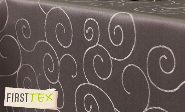 First-Tex Ornament Damast Tischdecke eckig 110x110 cm, Dunkelbraun, Pflegeleicht, Hochwertig, Bügela