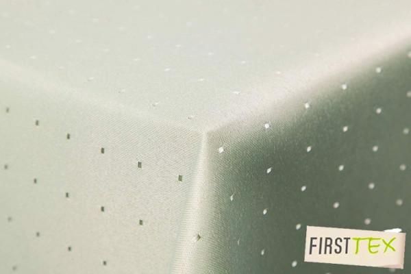 Punkte Damast Tischdecke eckig 160x360 cm von First-Tex hellgrün Pflegeleicht