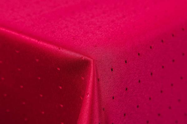 Punkte Damast Tischdecke, 135 cm, rund, von First-Tex, dunkelrot, Pflegeleicht, Hochwertig, Bügelar