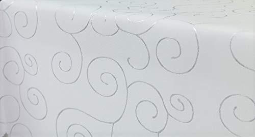 First-Tex, Ornament Damast Tischdecke, eckig, 160x220 cm, weiß, Pflegeleicht, Hochwertig, Bügelarm,