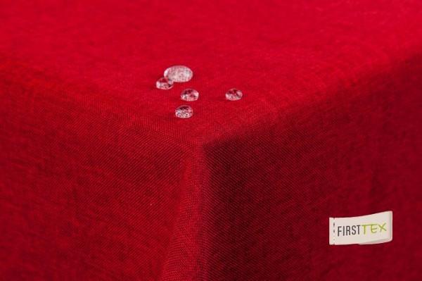 Tischdecke Leinenoptik Lotuseffekt abwaschbar mit gerader Saumkante 160x220 eckig in rot