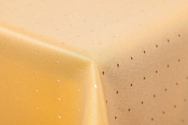 Punkte Damast Tischdecke von First-Tex 110x110 cm, gelb, Pflegeleicht, Hochwertig, Bügelarm, Schnell