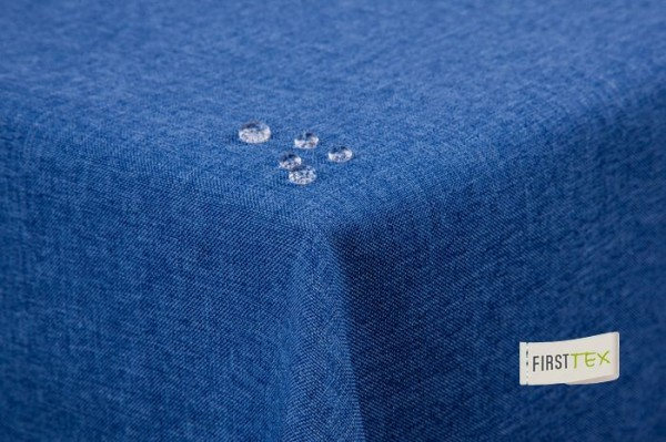 Tischdecke Leinenoptik Lotuseffekt abwaschbar mit gerader Saumkante 130x300 eckig in blau
