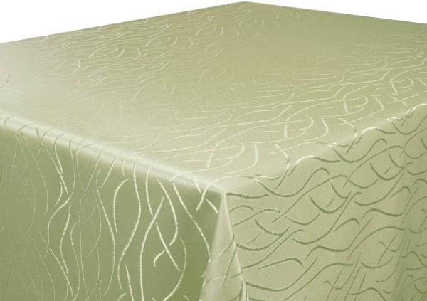 Tischdecke hellgrün Rund 135 cm in glanzvoller Streifenoptik Pflegeleicht Hochwertig Bügelarm Schnel