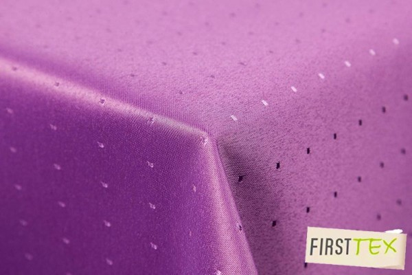Punkte Damast Tischdecke von First-Tex 110x160 cm, lila, Pflegeleicht, Hochwertig, Bügelarm, Schnell