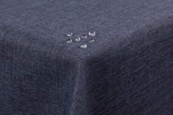 Tischdecke Leinenoptik Lotuseffekt mit gerader Saumkante 160x220 oval in grau