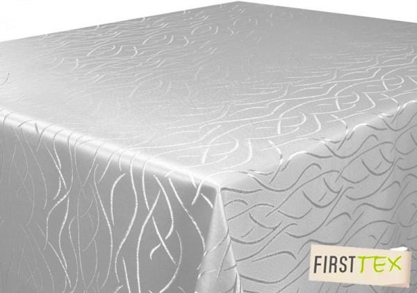 First-Tex Streifen-Muster Tischdecke 160x220 cm oval silber hellgrau