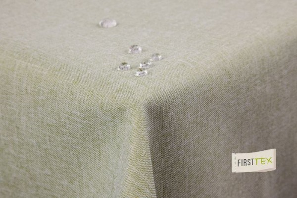 Tischdecke Leinenoptik Lotuseffekt abwaschbar mit gerader Saumkante160x320 eckig in hellgrün