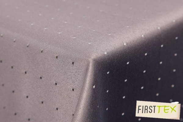 Punkte Damast Tischdecke eckig 130x220 von First-Tex *grau*
