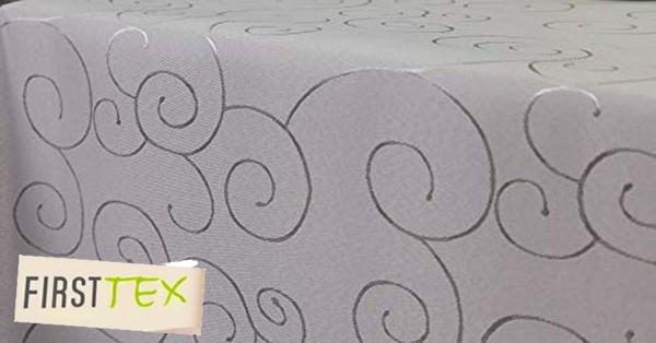 First-Tex Ornament Damast Tischdecke eckig 130x260 Silber Farbecht Hochwertig Lotuseffekt pflegeleic