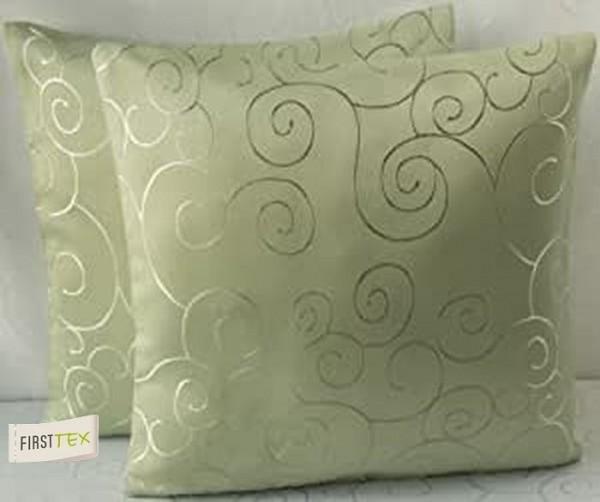 2x Streifen Damast Kissenhülle, Kissenbezug 40x40 in hellgrün von First-Tex Lotuseffekt pflegeleicht