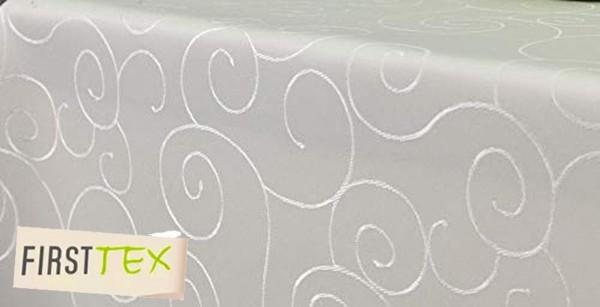 First-Tex Ornament Damast Tischdecke eckig 135x200 cm Creme Pflegeleicht Hochwertig Bügelarm, Schnel