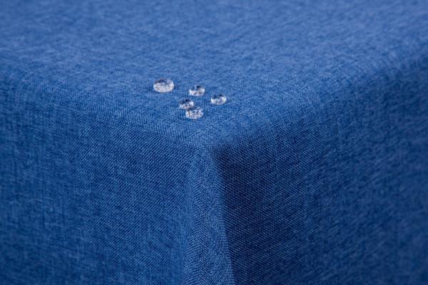 Tischdecke Leinenoptik Lotuseffekt abwaschbar mit gerader Saumkante135x180 eckig blau