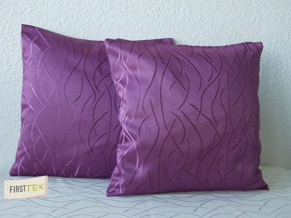 2x Streifen Damast Kissenhülle, Kissenbezug 40x40 in lila von First-Tex Lotuseffekt pflegeleicht