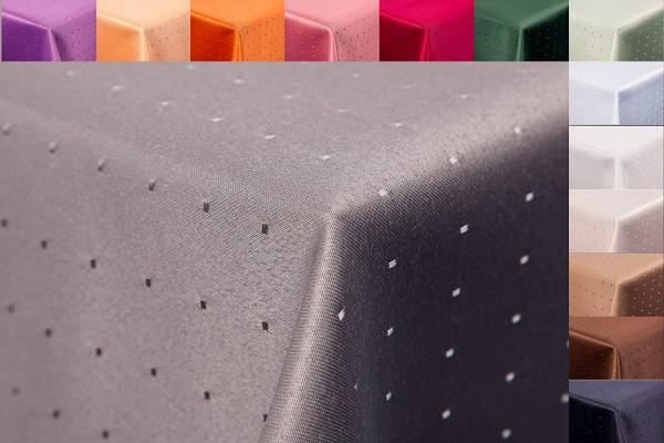 Punkte Damast Tischdecke 160x260 oval von First-Tex in grau farbecht hochwertig
