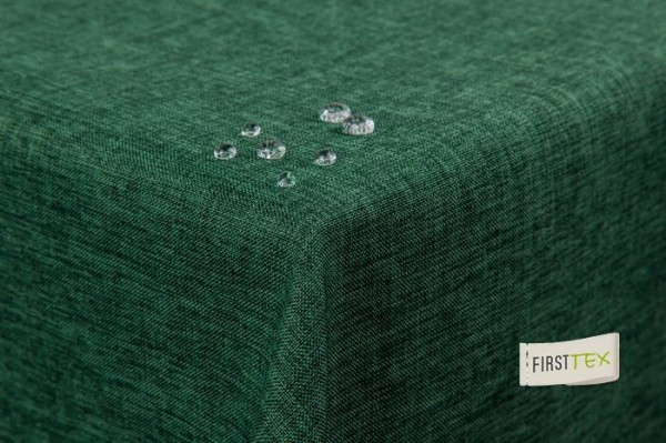 Tischdecke Leinenoptik Lotuseffekt abwaschbar mit gerader Saumkante 160 rund in dunkelgrün