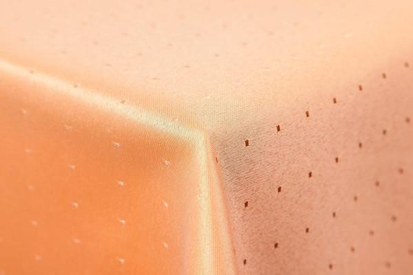 Punkte Damast Tischdecke 160x260 oval von First-Tex in orange terrakotta farbecht