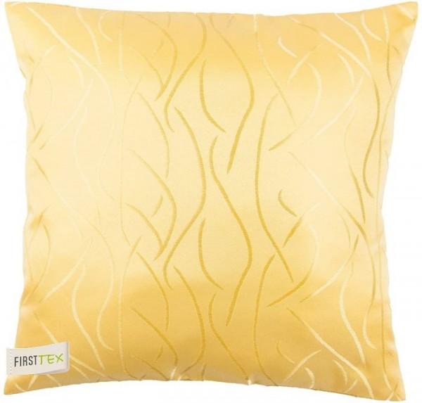 2x Streifen Damast Kissenhülle, Kissenbezug 40x40 in gelb von First-Tex Lotuseffekt pflegeleicht