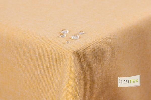 Tischdecke Leinenoptik Lotuseffekt abwaschbar mit gerader Saumkante 160x260 oval in gelb