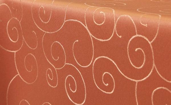 First-Tex Ornament Damast Tischdecke eckig 110x110 Terracotta, Hochwertig, Pflegeleicht, Schnelltroc