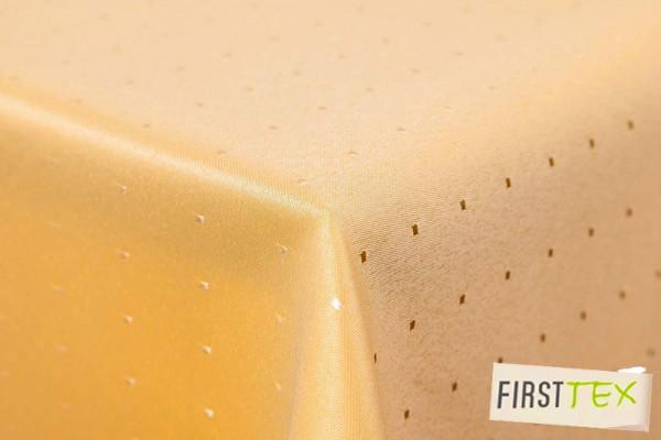 Punkte Damast Tischdecke von First-Tex 110x220 cm gelb, Pflegeleicht, Hochwertig, Bügelarm, Schnellt