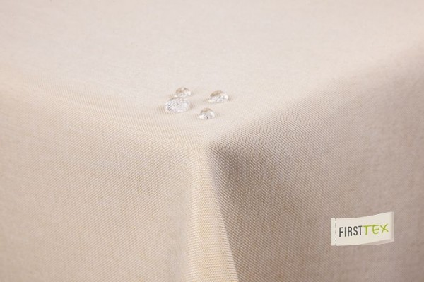 Tischdecke Leinenoptik Lotuseffekt gerade Saumkante 160x220 oval sand/hellbraun