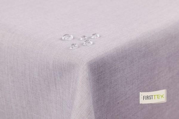 Tischdecke Leinenoptik Lotuseffekt abwaschbar mit gerader Saumkante 130x220 oval in silber/hellgrau