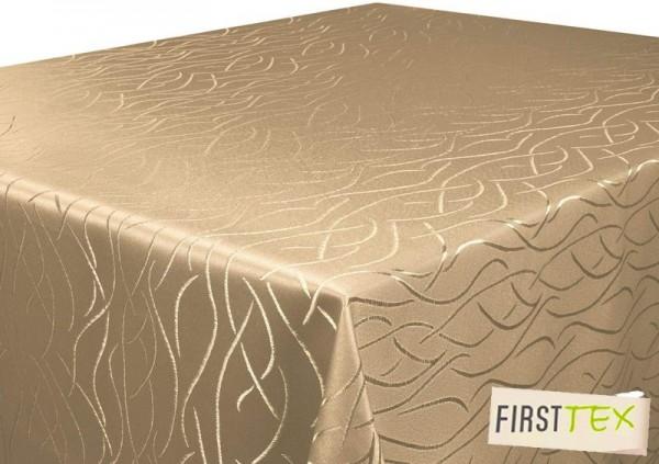 Tischdecke hellbraun 110x110 cm in glanzvoller Streifenoptik, Pflegeleicht, Hochwertig, Bügelarm, S
