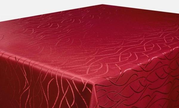 First-Tex Tischdecke in glanzvoller Streifenoptik 160 cm rund bordeaux Pflegeleicht