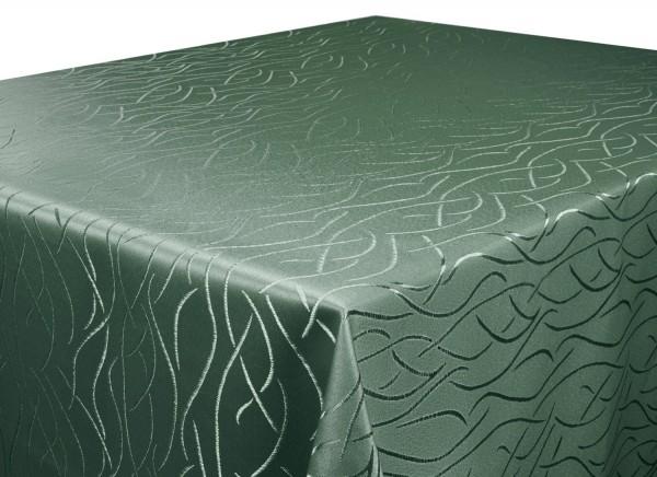 Tischdecke dunkelgrün 160x300 cm eckig in glanzvoller Streifenoptik, Pflegeleicht, Hochwertig, Bügel