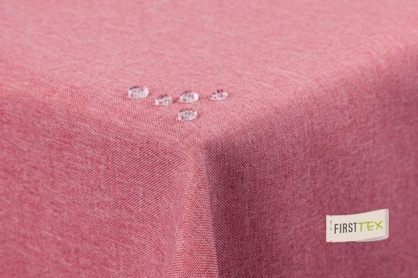 Tischdecke Leinenoptik Lotuseffekt abwaschbar mit gerader Saumkante 160x160 eckig in rosa