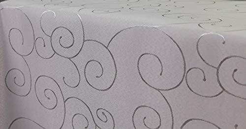 First-Tex, Ornament Damast Tischdecke, 160x220 cm, oval, Silber, Pflegeleicht, Hochwertig, Bügelarm,