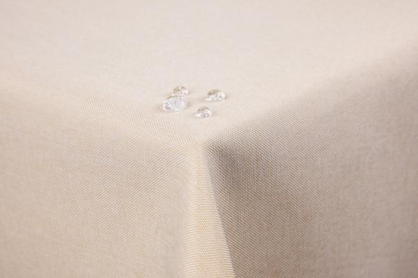 Tischdecke Leinenoptik Lotuseffekt abwaschbar mit gerader Saumkante 90x90 eckig in Hellbraun Sand